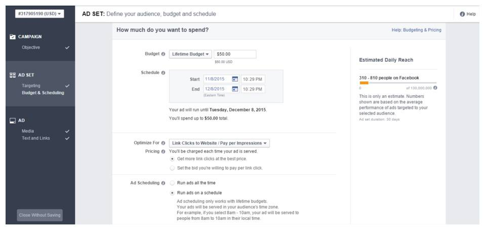 This picture shows how to run Facebook ads using a schedule.