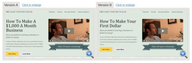 This picture shows how AppSumo A/B tested their landing page headline to increase conversions.