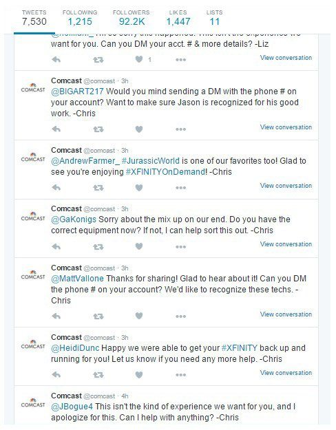This picture shows how Comcast uses their Twitter feed to increase customer lifetime value.