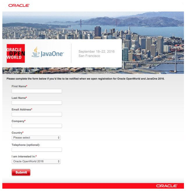This picture shows how Oracle World uses their event landing page to increase registrations and sales.