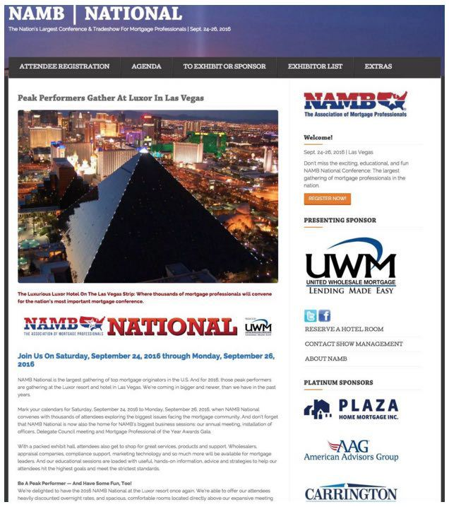 This picture shows how NAMB uses sponsors on their event landing page to increase registrations.