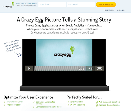 This picture shows how Crazy Egg uses landing page video to increase conversions.