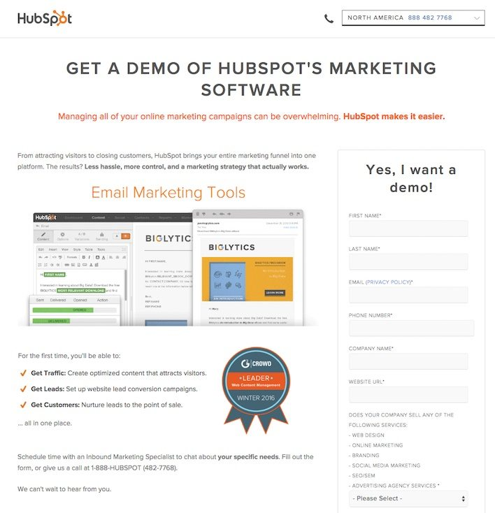 This picture shows how HubSpot uses YouTube annotations to increase landing page conversions