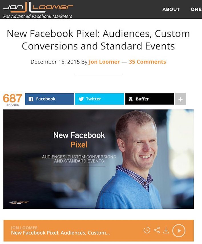 This picture shows how Jon Loomer uses podcasts to increase landing page visits.