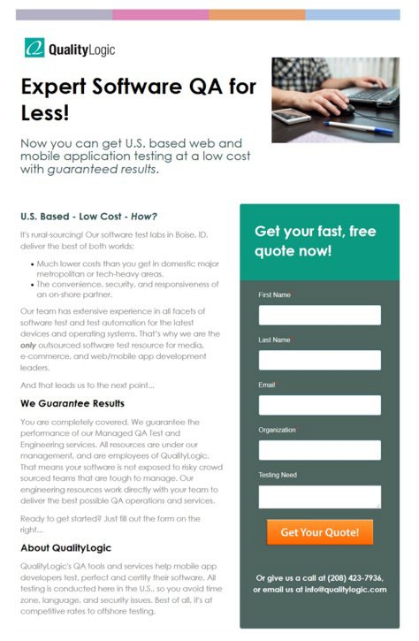 This picture shows Quality Logic's landing page web form below the fold.