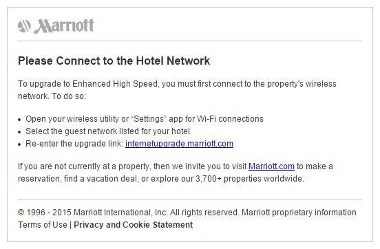 This picture shows how Marriott hotels uses their wifi landing page to upgrade customers to a higher lifetime value.