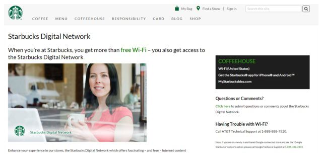 This picture shows how Starbucks uses their wifi digital network to engage customers.