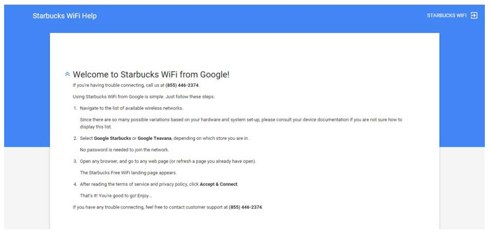 This picture shows how Starbucks uses their wifi landing page to engage customers.
