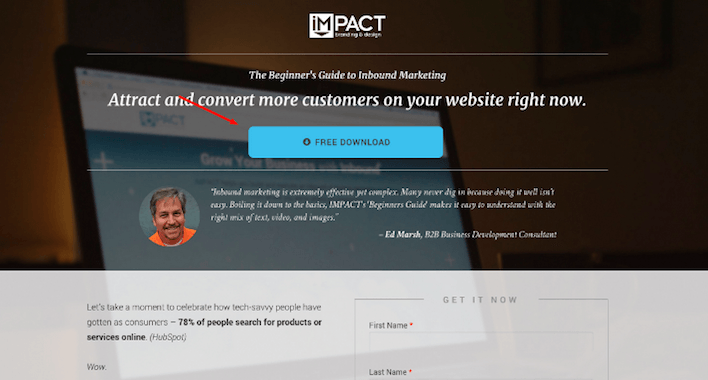 This picture shows how IMPACT used generic CTA copy to generate landing page conversions.