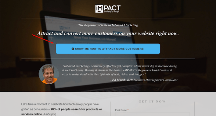 This picture shows how IMPACT increased landing page conversions using personalized CTA copy.