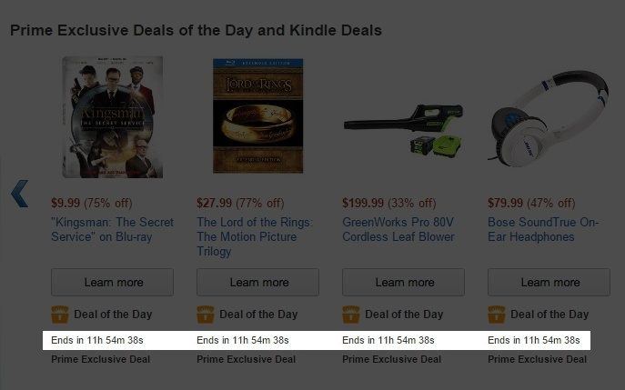 This picture shows how Amazon uses a countdown timer to increase urgency and product sales.
