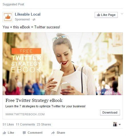 This picture shows how Likeable Local uses Facebook's 20% text rule to increase its ROI.