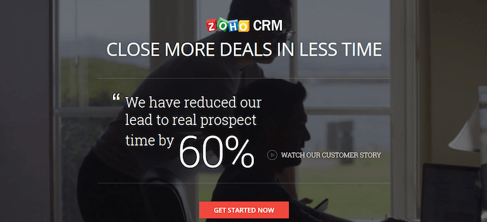 This picture shows how Zoho CRM uses a lead capture page to generate leads and sales.