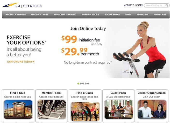 This picture shows how LA Fitness hides their social media sites reducing their conversion rates.