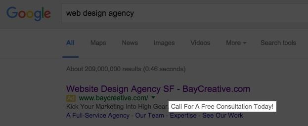 This picture shows how to use AdWords' Call extension to increase ad ranking and CTR.