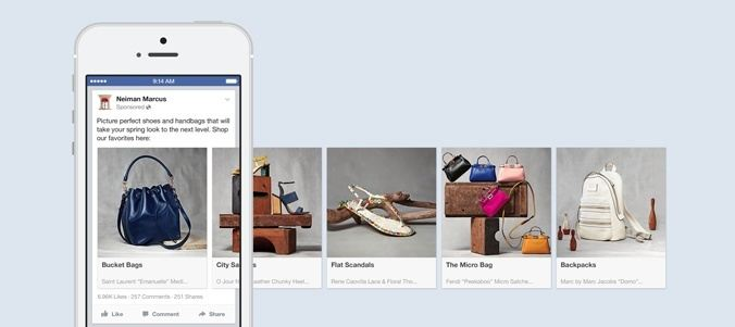 This picture shows how Neiman Marcus uses Facebook carousel ads to increase click-through rates.