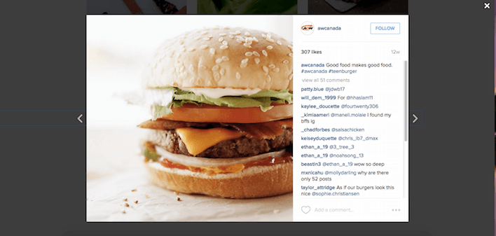 This picture shows how A&W uses landing pages to increase sales from its list of followers.