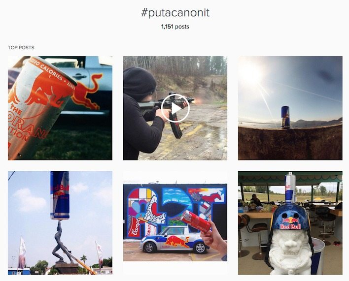 This picture shows how Red Bull uses Instagram hashtags and landing pages to engage followers and increase sales.