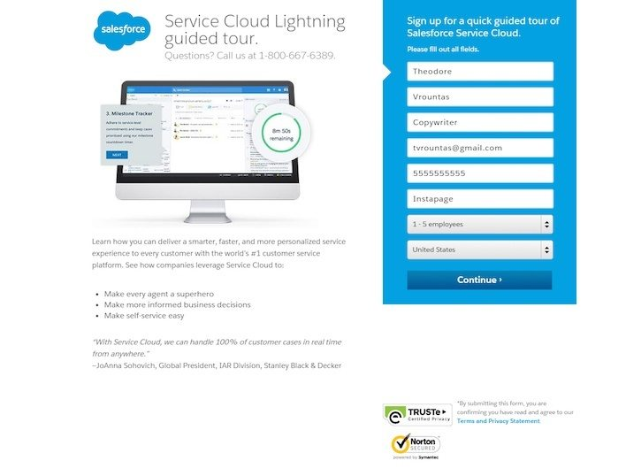 This picture shows Salesforce's lead gen landing page that increases conversions and sales.