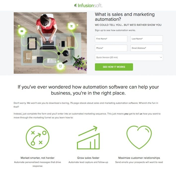 This picture shows how Infusionsoft uses minimal copy and no credit card required to increase conversions on its lead gen landing page.