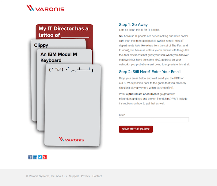 This picture shows how Varonis uses a single field form to increase conversions on its lead gen landing page.