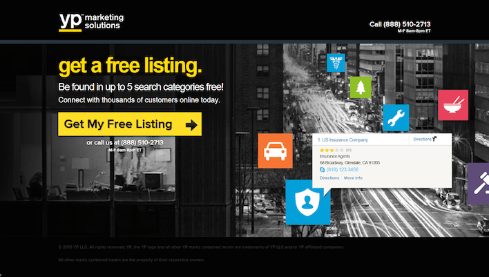 "This picture shows how Yellow Pages uses a lead gen landing page to increase business listings with a color-contrasting CTA and ""free"" in the copy."