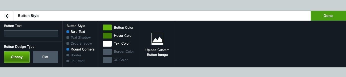 This picture shows what the old button settings looked like in the Instapage builder.