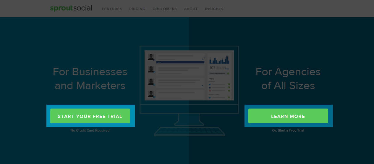 Sprout Social Landing Page Example