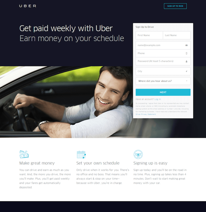 This picture shows how Uber uses a short lead capture form and minimal copy to increase new driver signups.