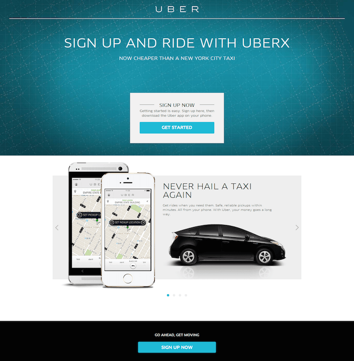 This picture shows how Uber uses a New York City taxi comparison to generate new user signups on its landing page.