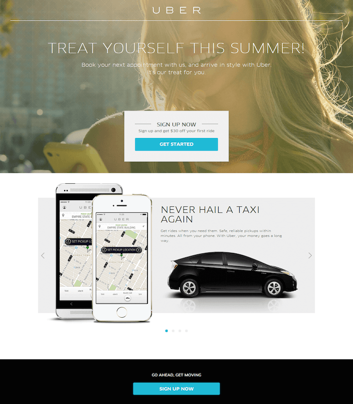 This picture shows how Uber generates new user signups by offering a seasonal promotion on its landing page.
