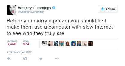 This picture shows a funny tweet about slow internet and marriage.