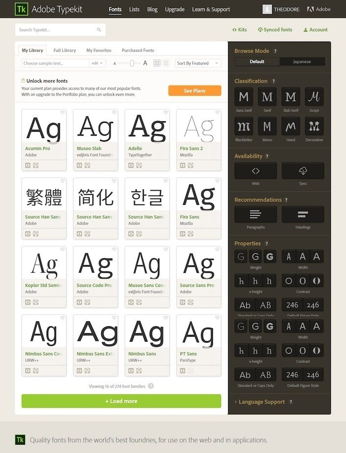 This picture shows how Adobe Typekit allows marketers to select fonts for their website and landing pages.