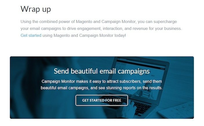 This picture shows how Campaign Monitor uses a CTA at the end of its blog articles to collect email addresses.