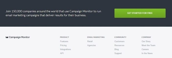 This picture shows how Campaign Monitor uses a footer CTA to collect email address for their free trial.