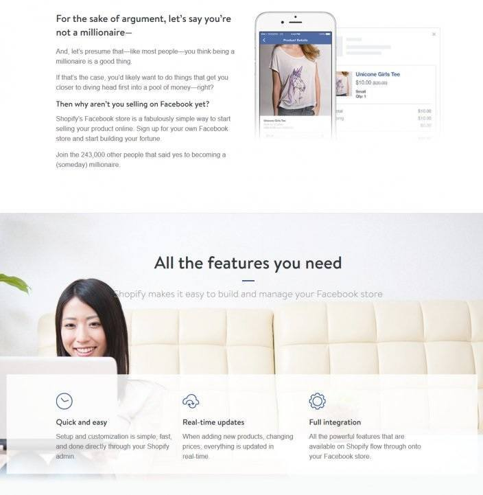 this image shows a section of a landing page Shopify uses for its campaigns