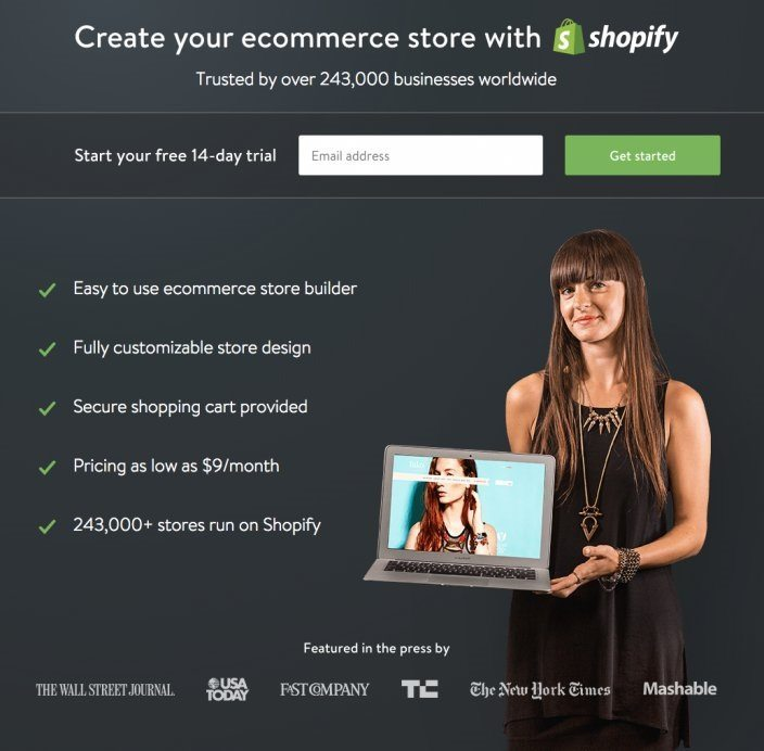 How Shopify Has Used Landing Pages To Dominate Ecommerce - Shopify landing page template