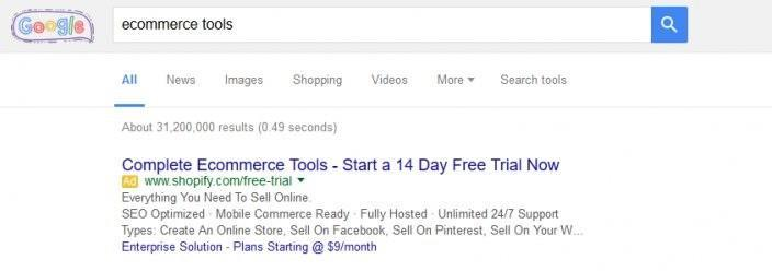 this picture shows the Google search results for the keyword ecommerce tools