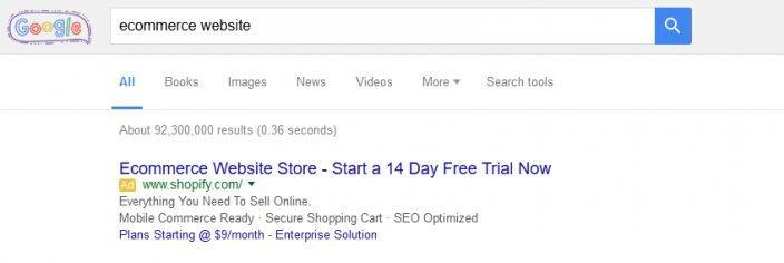 this picture shows the Google search result for the keyword phrase ecommerce website