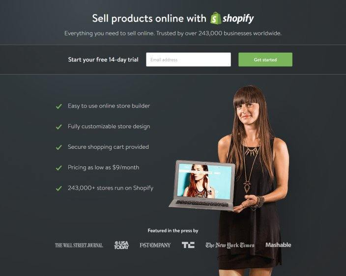 this image shows the landing page Shopify uses for AdWords campaigns