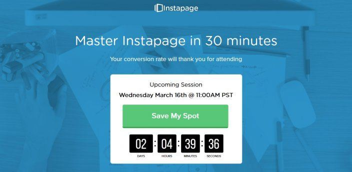 this picture shows the to the point headline Instapage uses on its webinar landing page