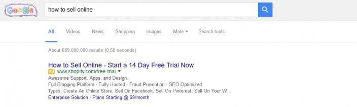 this picture shows Google search results for the keyword how to sell online
