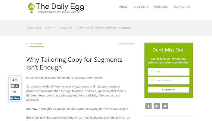 This picture shows marketers how Crazy Egg uses a blog margin banner to increase subscribers and user engagement.