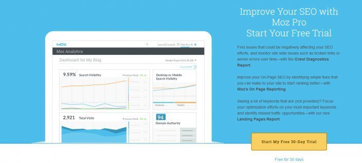 this picture shows the action headline Moz uses on its landing page