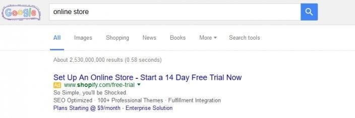 this picture shows the Google search results of the keyword phrase online store