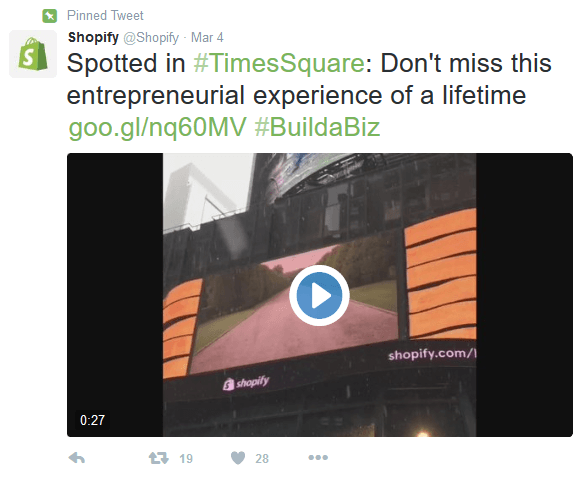 this picture shows the pinned tweet Shopify uses on its Twitter feed