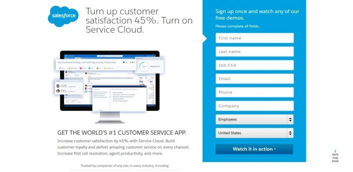 the picture shows the number headline Salesforce uses on its landing page
