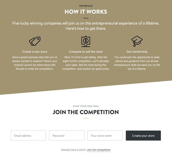 This picture shows how marketers can enter Shopify's Build a Business competition.