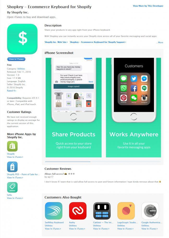 this picture shows the landing page Shopify uses for shopkey