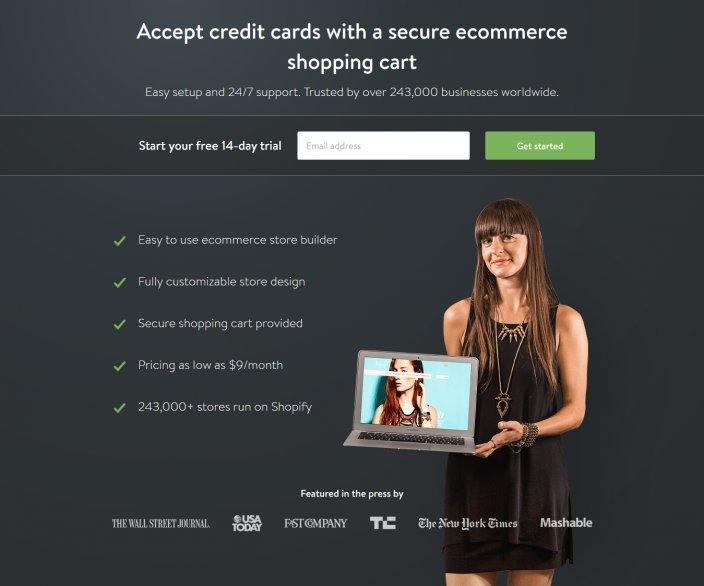 this picture shows the landing page that Shopify uses for the keyword shopping cart